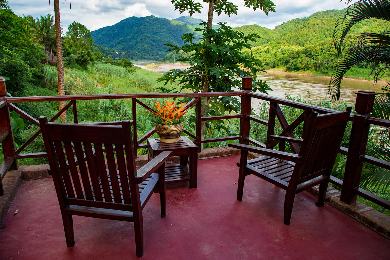 Private Deck Overlooking the Mekong River at Luang Say Lodge Pakbeng Laos