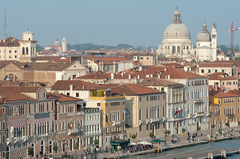 City skyline with a view of the dome of The Church of Santa Maria della Salute - Venice, Italy