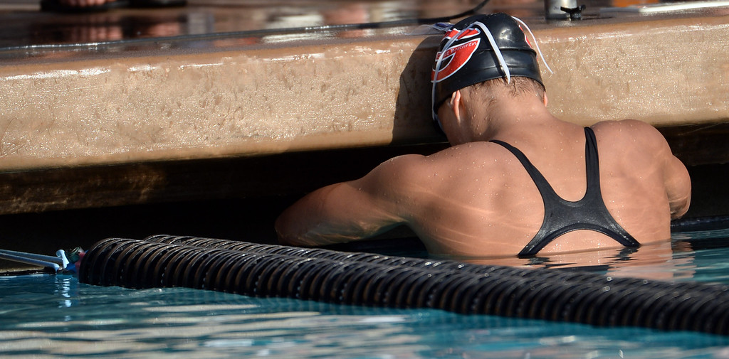 . Grace Brethren\'s Olivia Hynes takes a moment after winning the 100 freestyle during the Division 4 CIF Southern Section Swimming Championships in the Riverside Aquatics Complex at Riverside City College in Riverside, Calif., on Friday, May 16, 2014.  (Keith Birmingham/Pasadena Star-News)
