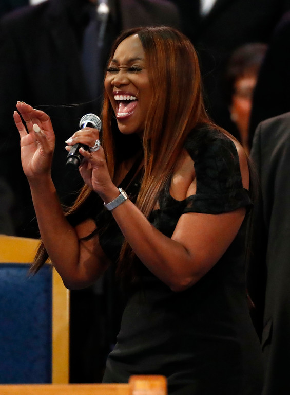 . Yolanda Adams performs during the funeral service for Aretha Franklin at Greater Grace Temple, Friday, Aug. 31, 2018, in Detroit. Franklin died Aug. 16, 2018 of pancreatic cancer at the age of 76. (AP Photo/Paul Sancya)