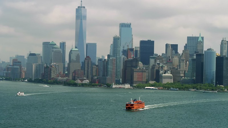 Ferry and New York City aerial footage
