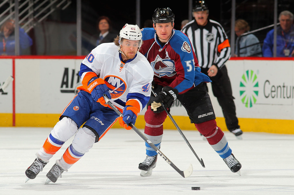 . DENVER, CO - JANUARY 10:  Michael Grabner #40 of the New York Islanders controls the puck against Cody McLeod #55 of the Colorado Avalanche at Pepsi Center on January 10, 2014 in Denver, Colorado.  (Photo by Doug Pensinger/Getty Images)