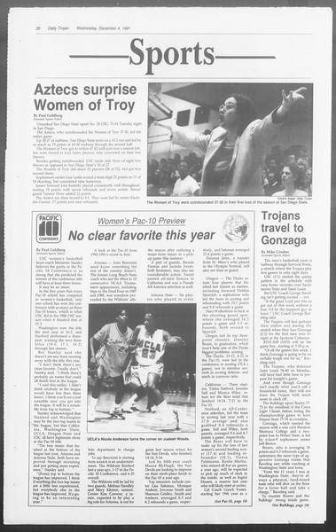Daily Trojan, Vol. 116, No. 62, December 04, 1991