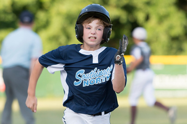 07/09/19 Wesley Bunnell | Staff Southington North vs Southington South in a Little League playoff game on Tuesday July 9, 2019 at Bill Petit Field. Ryan Barnes (2).
