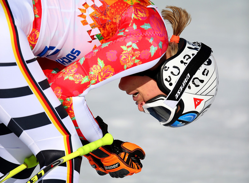 . Maria Hoefl-Riesch of Germany reacts after a run during the Alpine Skiing Women\'s Super-G on day 8 of the Sochi 2014 Winter Olympics at Rosa Khutor Alpine Center on February 15, 2014 in Sochi, Russia.  (Photo by Clive Rose/Getty Images)