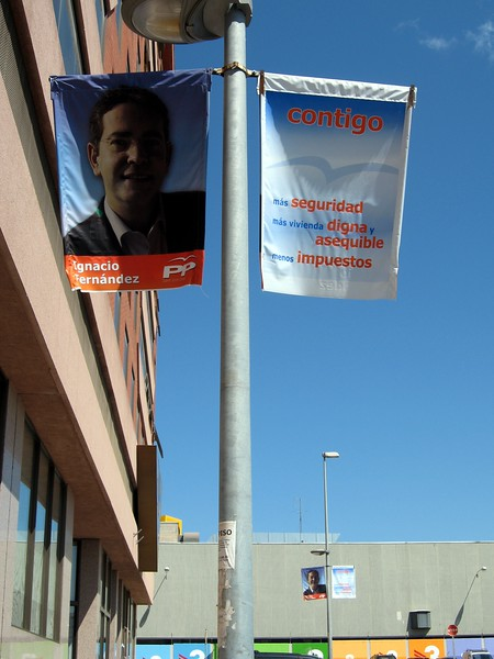 Campaign banners for elections around Barcelona
