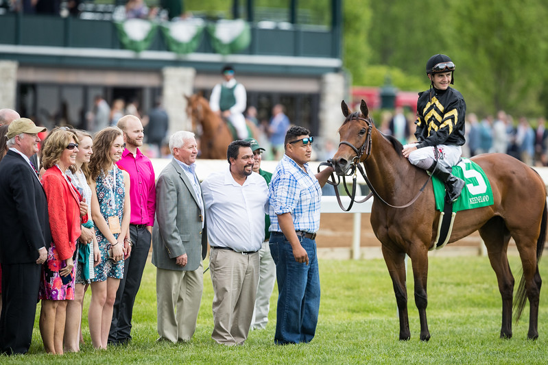 Quiet Business wins the Bewitch at Keeneland. Brian Hernandez up, Calumet Farm owner, George Arnold trainer.