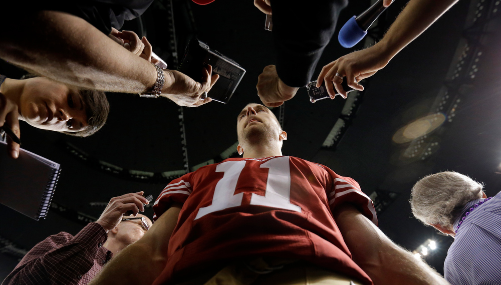 Description of . San Francisco 49ers quarterback Alex Smith answers a question during media day for the NFL Super Bowl XLVII football game Tuesday, Jan. 29, 2013, in New Orleans. (AP Photo/Pat Semansky)