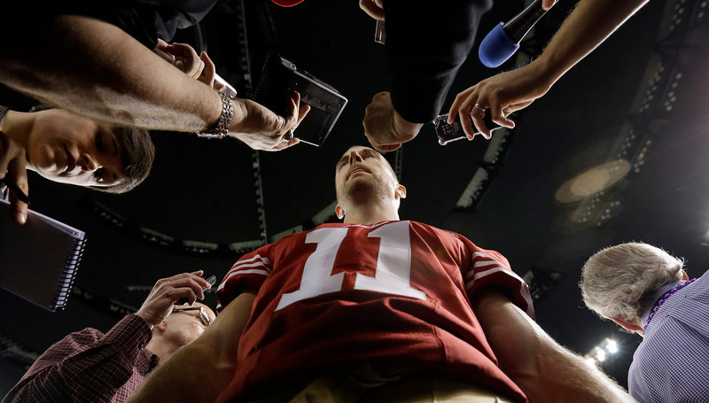 . San Francisco 49ers quarterback Alex Smith answers a question during media day for the NFL Super Bowl XLVII football game Tuesday, Jan. 29, 2013, in New Orleans. (AP Photo/Pat Semansky)