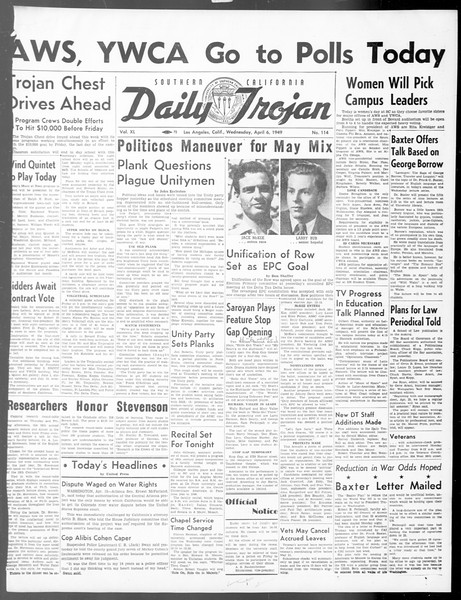 Daily Trojan, Vol. 40, No. 114, April 06, 1949