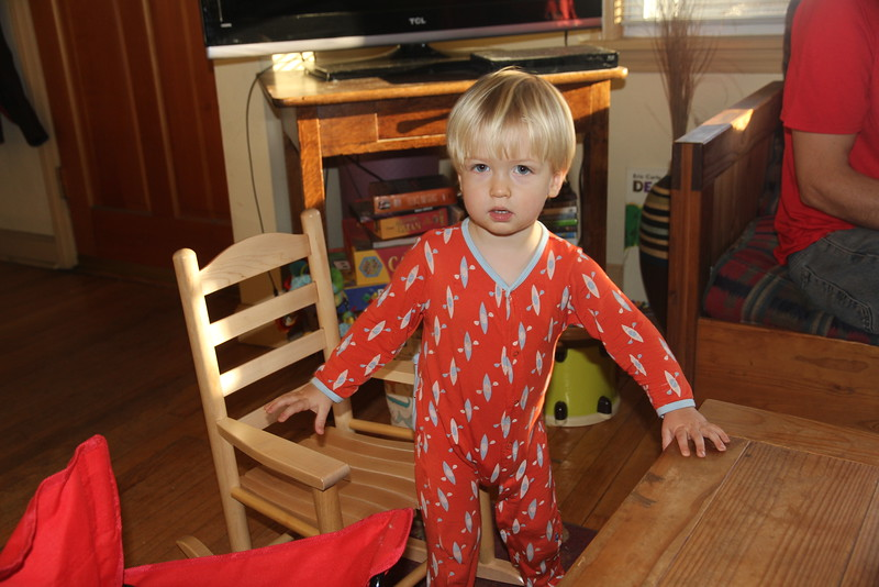 Elliot with the rocking chair from Nana & Granddad for Christmas