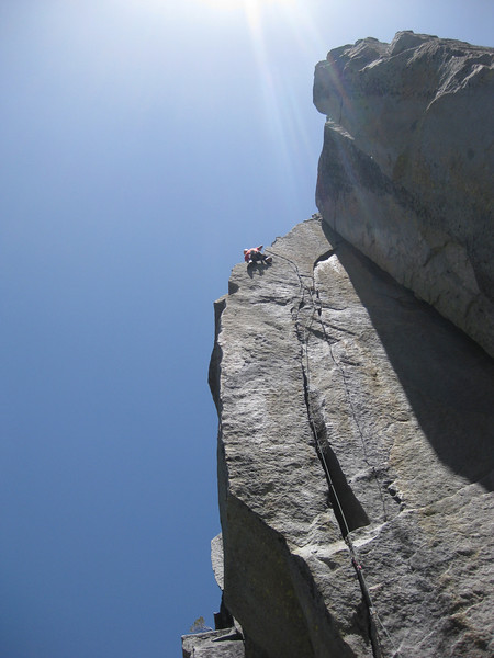 Me struggling on the Mega classic Space Walk 5.11c at Eagle Lake.