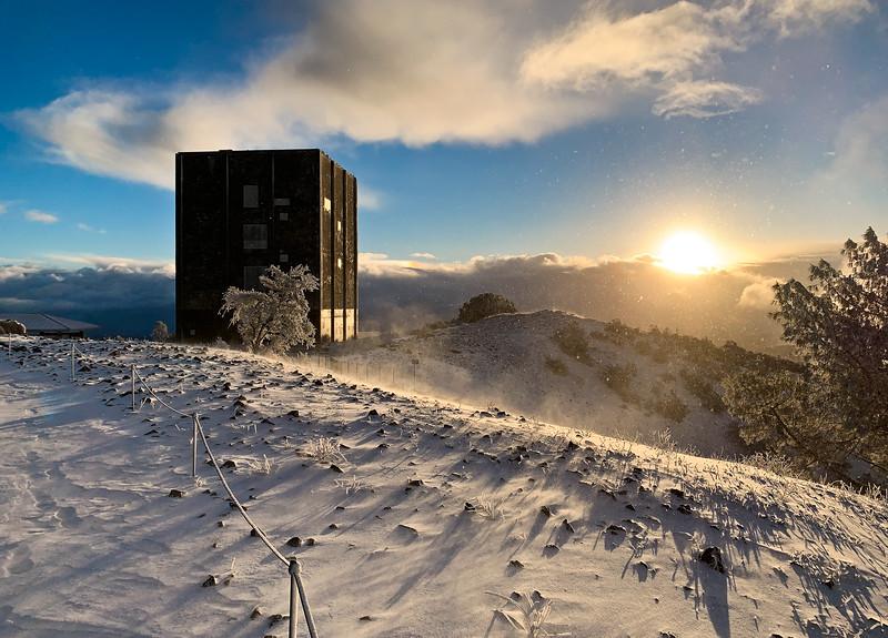 Daybreak on Snow-covered Mount Umunhum