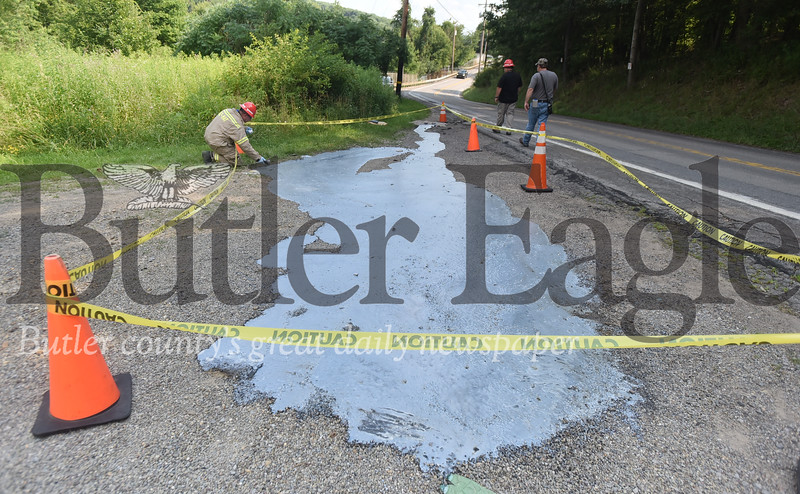 93560 a spill alongside route 68 in Petrolia in a turnaround Butler County Hazard Materials response team 100 was called to the scene