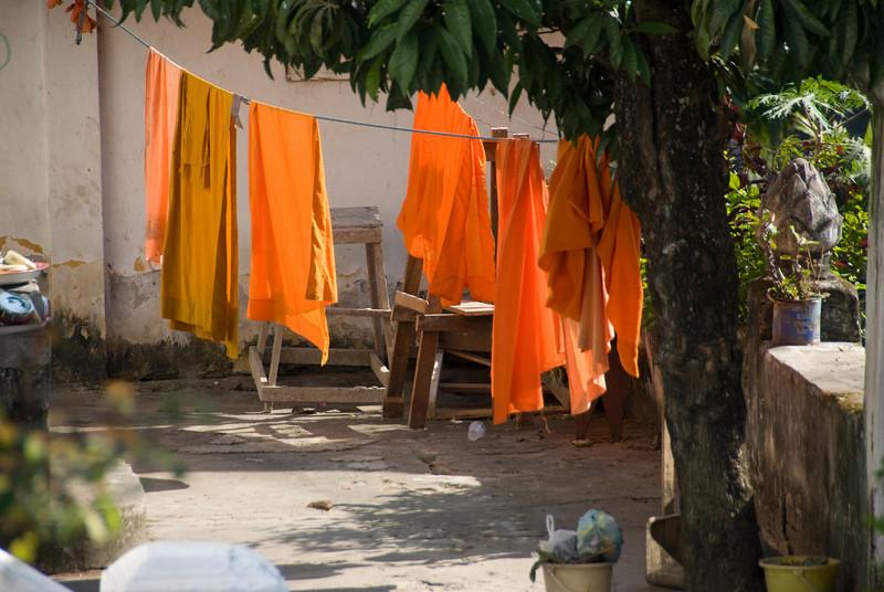 Monk robes hung to dry at Luang Prang, Laos