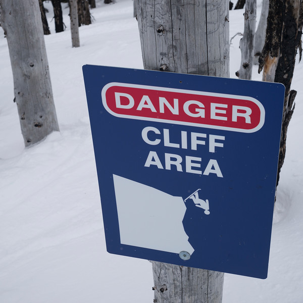 Close-up of warning sign on tree, Whistler, British Columbia, Canada