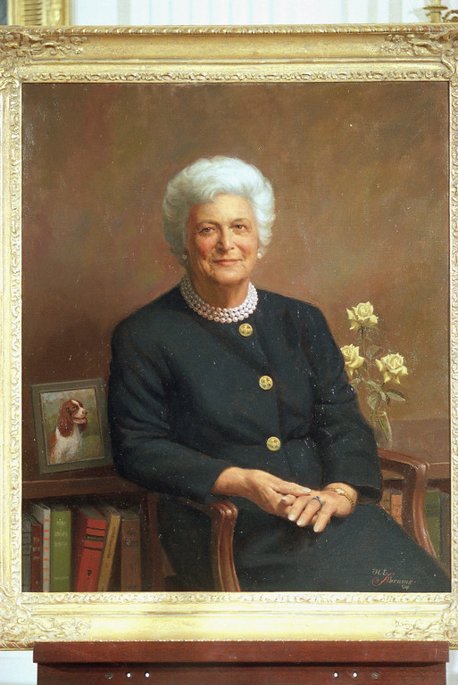 . The official formal portrait of former first lady Barbara Bush was unveiled at the White House in Washington, July 17, 1995. The portrait was painted by Herbert E. Abrams of Warren, Conn. (AP Photo/Marcy Nighswander)