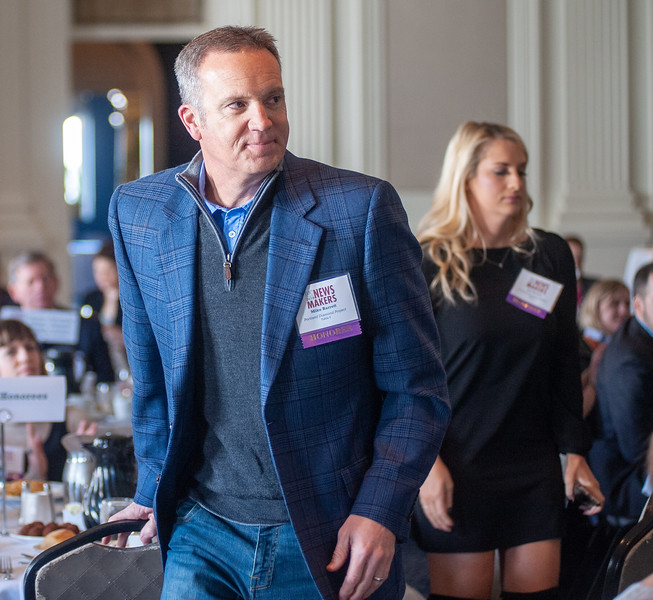 Portland Diamond Project spokesperson Mike Barrett walks to the stage at the Newsmakers luncheon Thursday. (Josh Kulla/DJC)