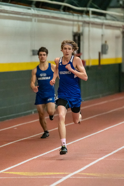 Junior Jarret Muzzy running the 300. Jarret finished in 3rd place with a time of 39.88. Vermont Division II Indoor Track State Championships - UVM Gutterson Field House - 2/16/2020