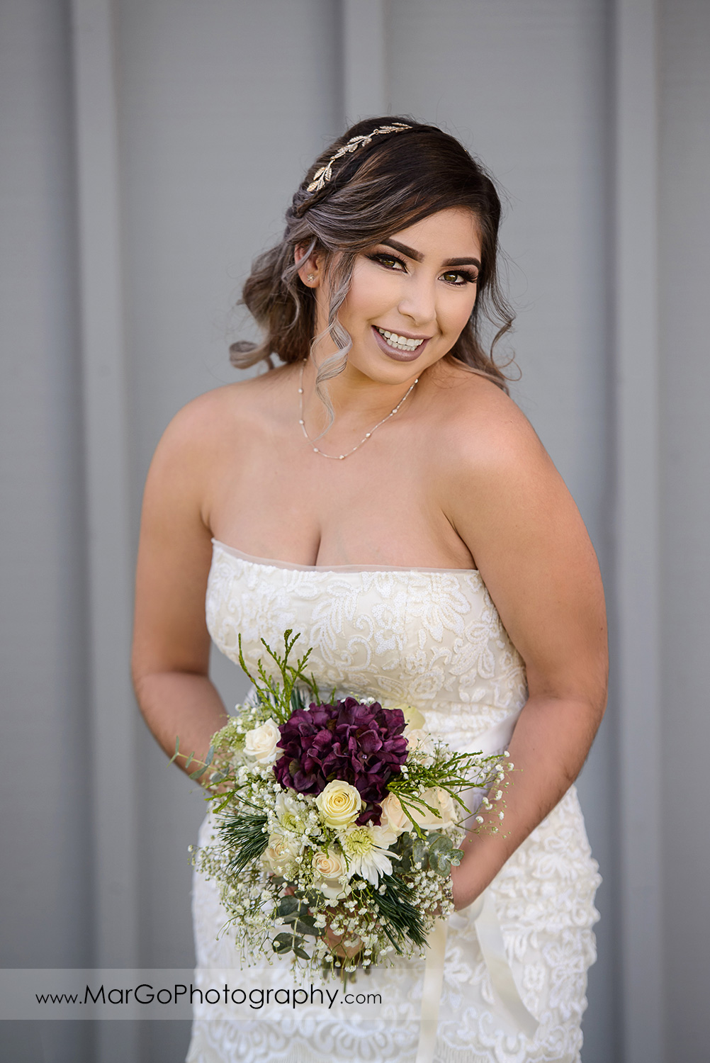 portrait of the bride at Pleasant Hill City Hall