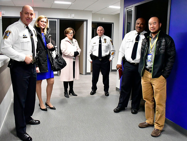 11/14/2019 Mike Orazzi | StaffrBristol Police Chief Brian Gould, Bristol Health Counseling Center's Lisa Coates, Bristol Mayor Ellen Zoppo-Sassu, police captains Richard Guerrera, Stephen Tavares, and Dr. Andrew Lim, chairman of the emergency medicine during a C.O.B.R.A meeting at Bristol Hospital on Thursday.