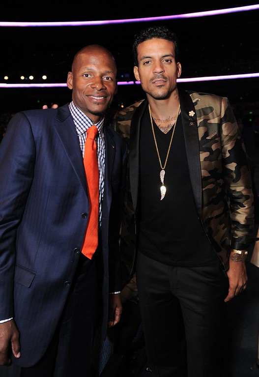 . NBA players Ray Allen, left, and Matt Barnes pose in the audience at the ESPY Awards on Wednesday, July 17, 2013, at the Nokia Theater in Los Angeles. (Photo by Jordan Strauss/Invision/AP)