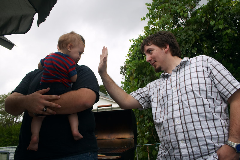 Over the course of the day, Dan successfully instilled the high-five reflex in the child