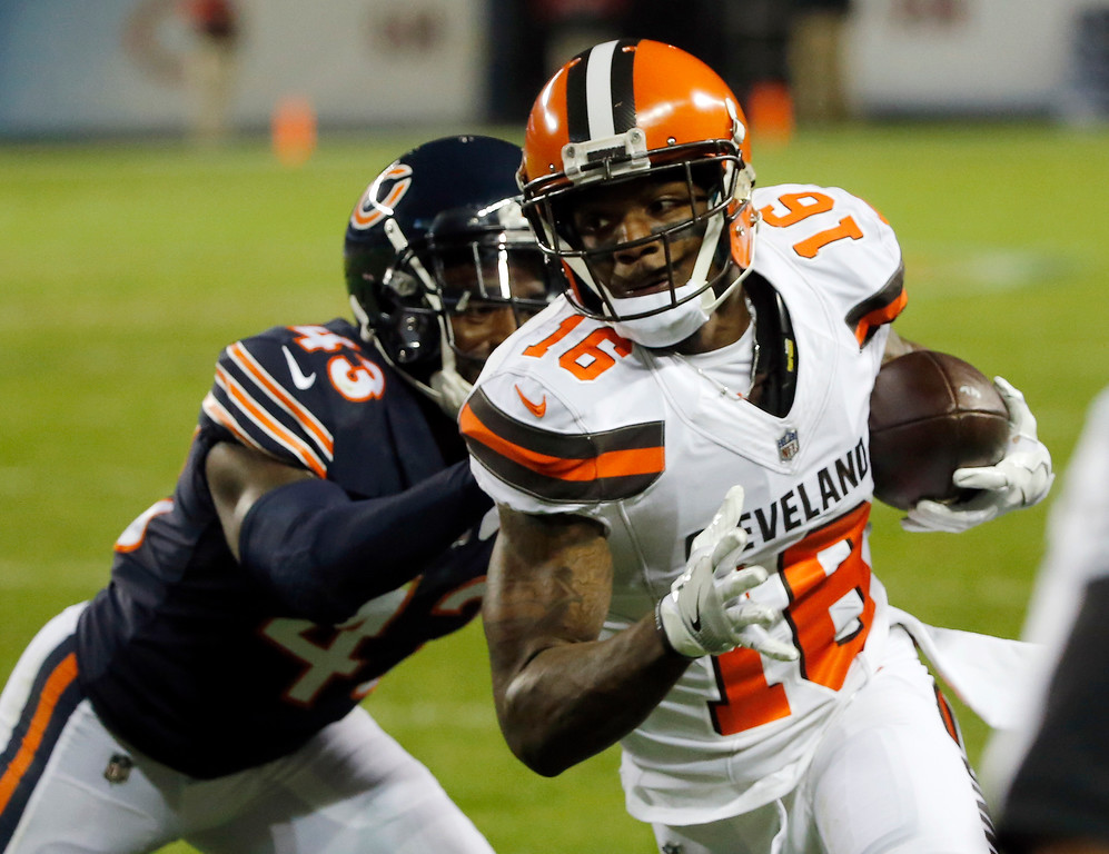 . Cleveland Browns wide receiver Rannell Hall (16) runs to the end zone for a touchdown after making a pass reception against Chicago Bears cornerback Rashaad Reynolds (43) during the first half of an NFL preseason football game, Thursday, Aug. 31, 2017, in Chicago. (AP Photo/Charles Rex Arbogast)