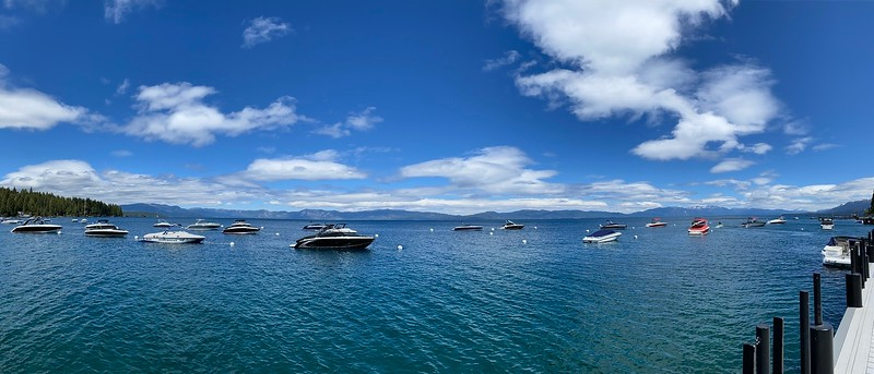 Panoramic View of Boats moored at Lake Tahoe's Sunnyside Marina