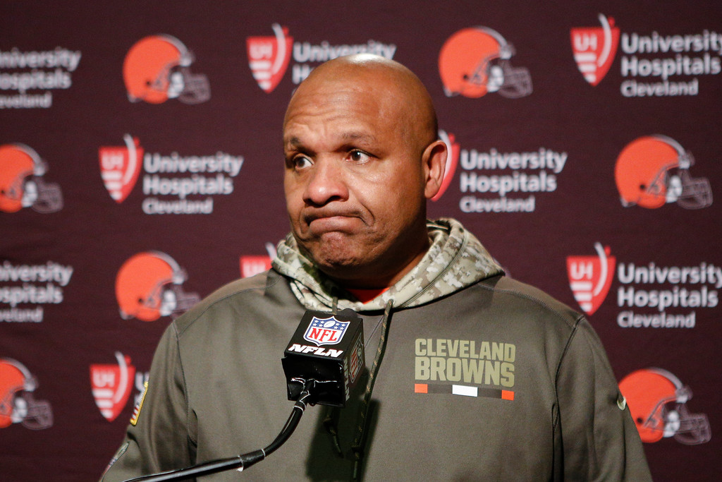 . Cleveland Browns head coach Hue Jackson reacts during a news conference after an NFL football game against the Cincinnati Bengals, Sunday, Nov. 26, 2017, in Cincinnati. (AP Photo/Frank Victores)