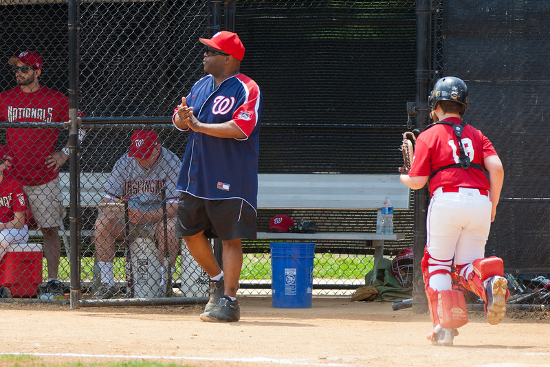 Coach Coop pleased to see how the Nats closed out the 3rd inning. The bats of the Nationals were supported by a great defensive outing in a 11-4 win over the Twins. They are now 7-3 for the season. 2012 Arlington Little League Baseball, Majors Division. Nationals vs Twins (13 May 2012) (Image taken by Patrick R. Kane on 13 May 2012 with Canon EOS-1D Mark III at ISO 400, f4.0, 1/1000 sec and 200mm)
