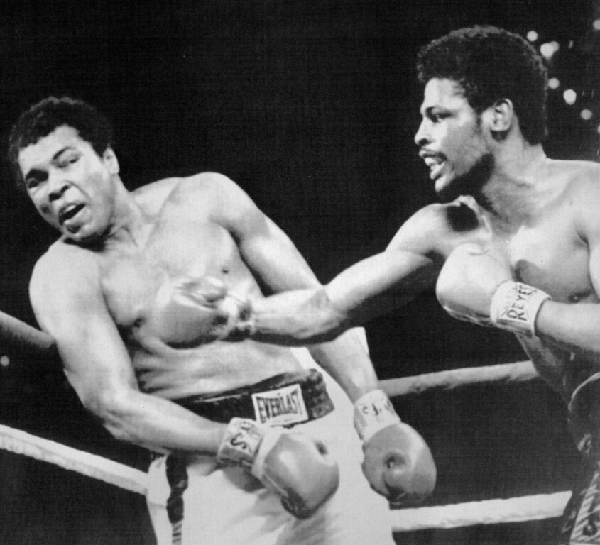 . A Blow To Ali -- Leon Spinks connects with a right hook to Muhammad Ali during the late rounds of their championship fight in Las Vegas, Nev. Wednesday night. The 24-year-old Spinks won the bout in a 15-round decision. 1978. Credit: AP Laserphoto
