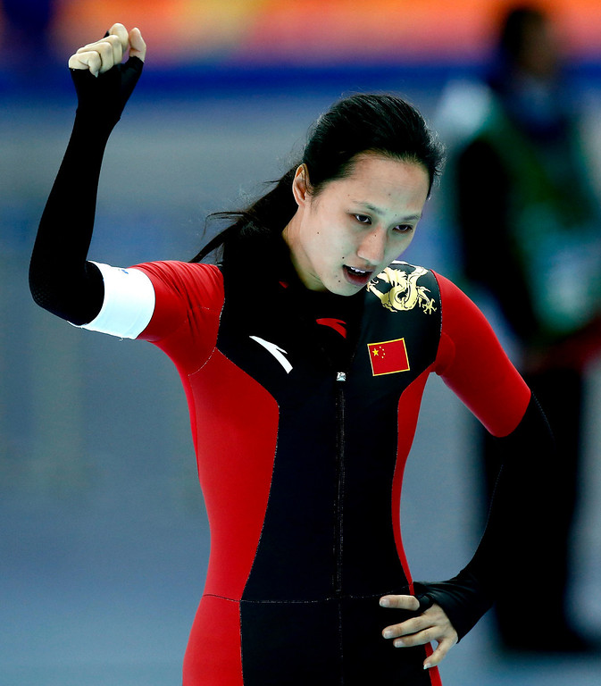 . Hong Zhang of China reacts after the 1000m Women\'s  Speed Skating event in the Adler Arena at the Sochi 2014 Olympic Games, Sochi, Russia, 13 February 2014.  EPA/VINCENT JANNINK