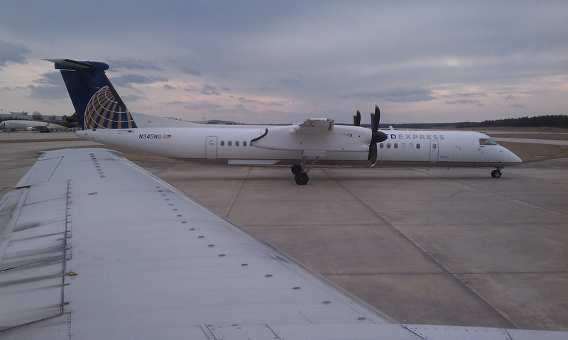 sitting at rdu waiting to take off - at least I'm not on this prop plane