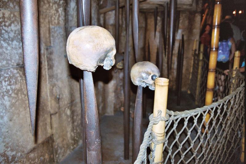 skulls  in Indiana Jones ride