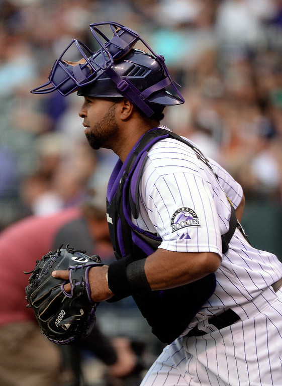 . DENVER, CO - APRIL 18: Catcher Wilin Rosario got the start behind the plate Friday night. The Colorado Rockies hosted the Philadelphia Phillies Friday night, April 18, 2014 at Coors Field.  (Photo by Karl Gehring/The Denver Post)