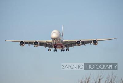 Emirates A-380-800 22L Landing at BOS