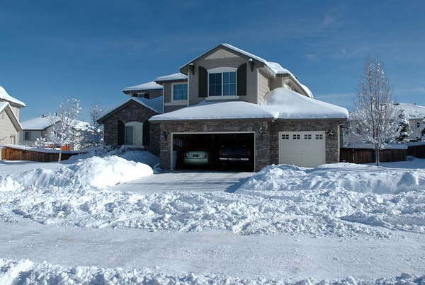 Our house, after shoveling and a little sun melt.
