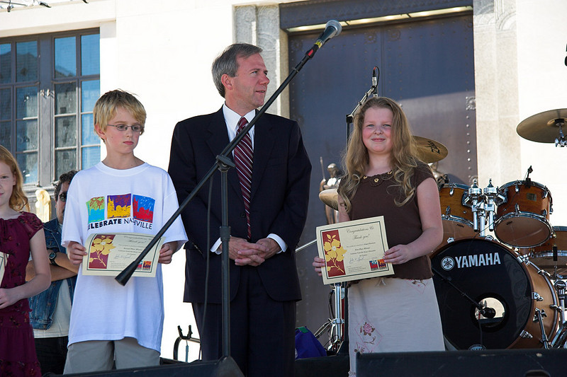 Abigail, the Mayor of Nashville, and two other grand prize winners of the city's art contest.  Abigail took 1st place.  Her picture of the Nashville skyline will be printed on recycling trucks in Nashville.