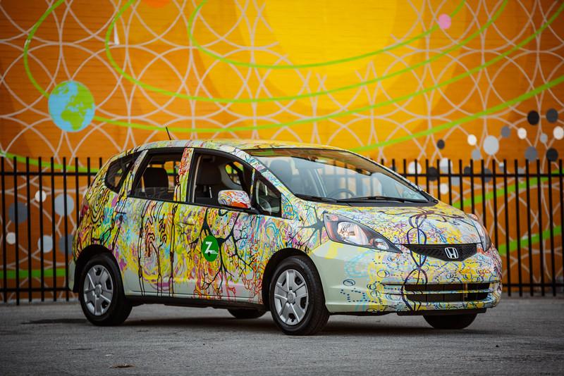 Ben Volta's ZipCar and Micro to Macro mural