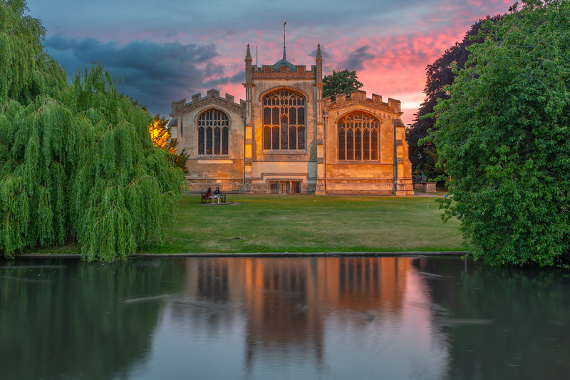 Dusk at River Hiz and St Mary's Church, Hitchin, Hertfordshire