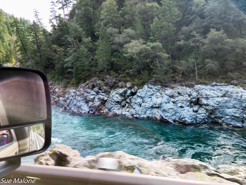 passenger side view of the Smith River along Highway 199