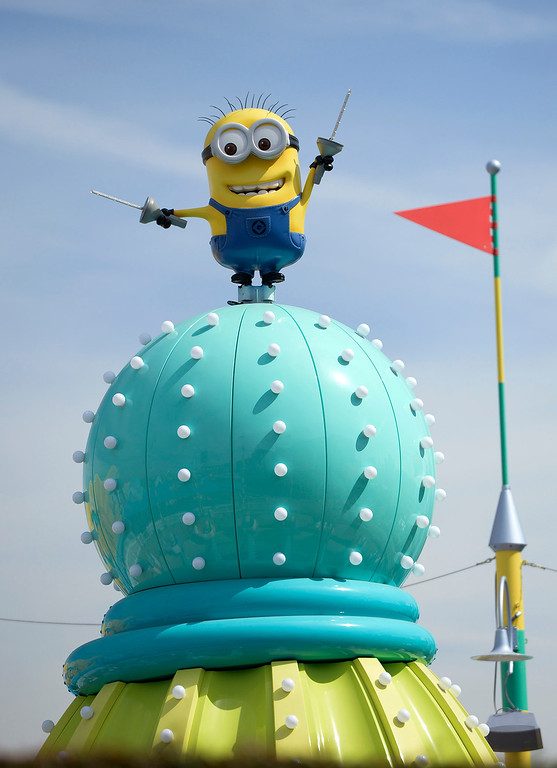 . A character from Despicable Me stands on top of a structure in the Super Silly Fun Land at Universal Studios Hollywood. The park will soon open the Despicable Me Minion Mayhem and Super Silly children\'s play area.  Universal City,CA. March 20, 2014 (Photo by John McCoy / Los Angeles Daily News)