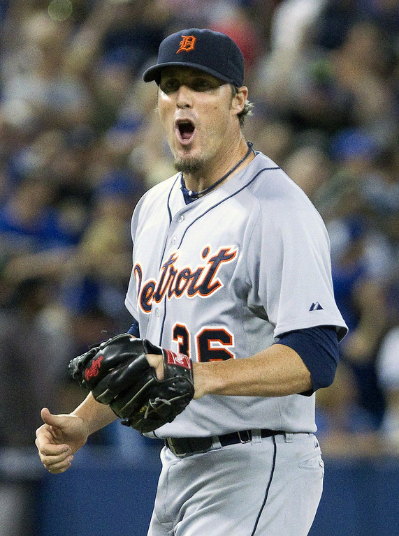 . Detroit Tigers pitcher Joe Nathan reacts after the last out of their  baseball game against the Blue Jays in Toronto Friday Aug.  8, 2014. The Tigers defeated the Blue Jays 5-4 scoring three runs in the ninth inning for the come from behind win. (AP Photo/The Canadian Press, Fred Thornhill)