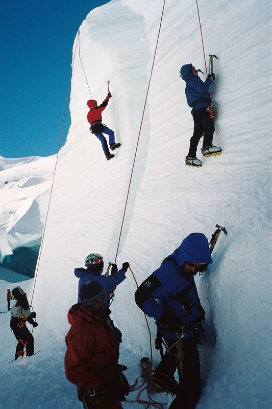 Ice climbing at the local crag. Phil (left background), Dave (left) and Tshering beleying, Diane (left) and Amy climbing, Erwin (left) and Richard in the foreground. Feb 04