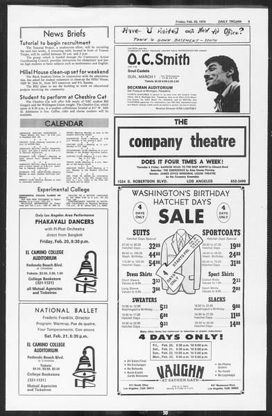 Daily Trojan, Vol. 61, No. 78, February 20, 1970