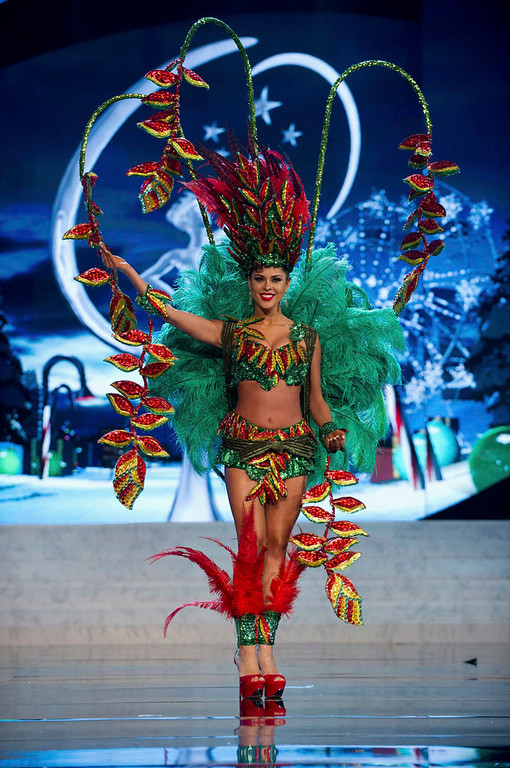 . Miss Bolivia Yessica Mouton performs onstage at the 2012 Miss Universe National Costume Show at PH Live in Las Vegas, Nevada December 14, 2012. The 89 Miss Universe Contestants will compete for the Diamond Nexus Crown on December 19, 2012. REUTERS/Darren Decker/Miss Universe Organization L.P./Handout