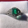 1.29ctw Emerald and Diamond Modified Halo Ring 29
