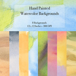 8 Hand Painted  Backgrounds $4