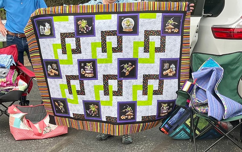 Jean Kaufmann and her version of the mystery quilt.